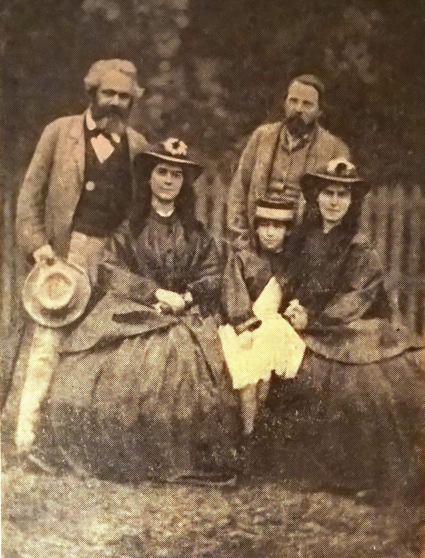 Карл Маркс, его дочери и Фридрих Энгельс