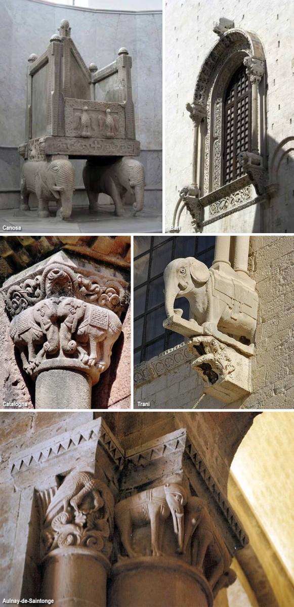 скульптурные изображения слонов на церквях романской архитектуры