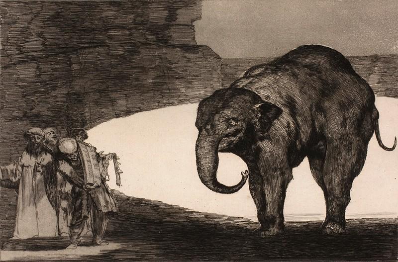 Безумие животных (безрассудство, глупость) животных - картина Франсиско Гойя со слоном