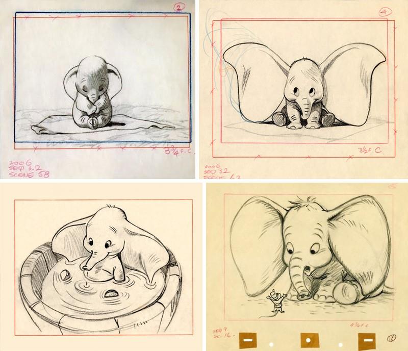 Эскизы слоненка из мультфильма Уолта Диснея Дамбо