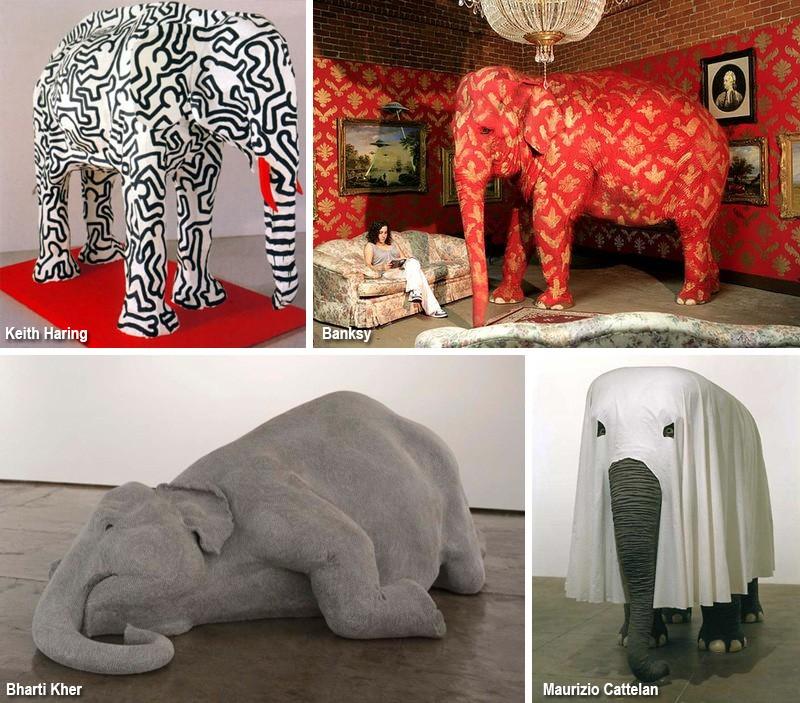 современные скульптуры - инсталляции слонов