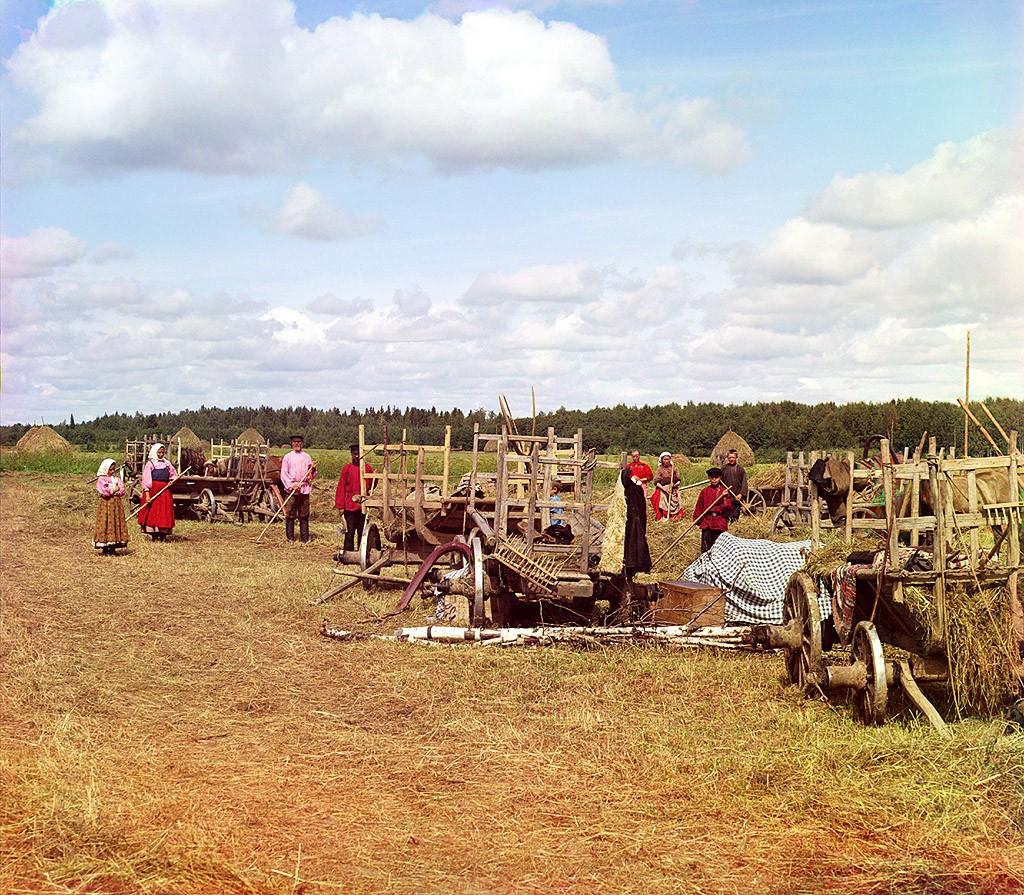 Привал на сенокосе. Российская империя 1909 год. Фотограф Прокудин Горский