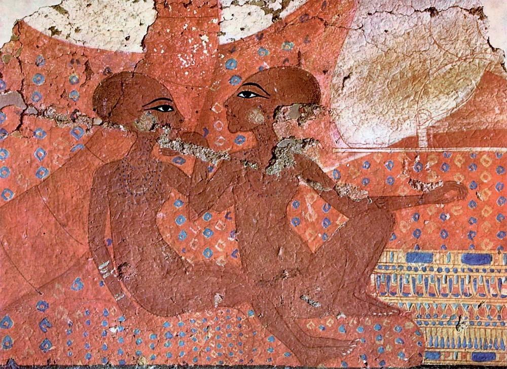 Фреска из Амарны, на которой изображены две дочери Эхнатона