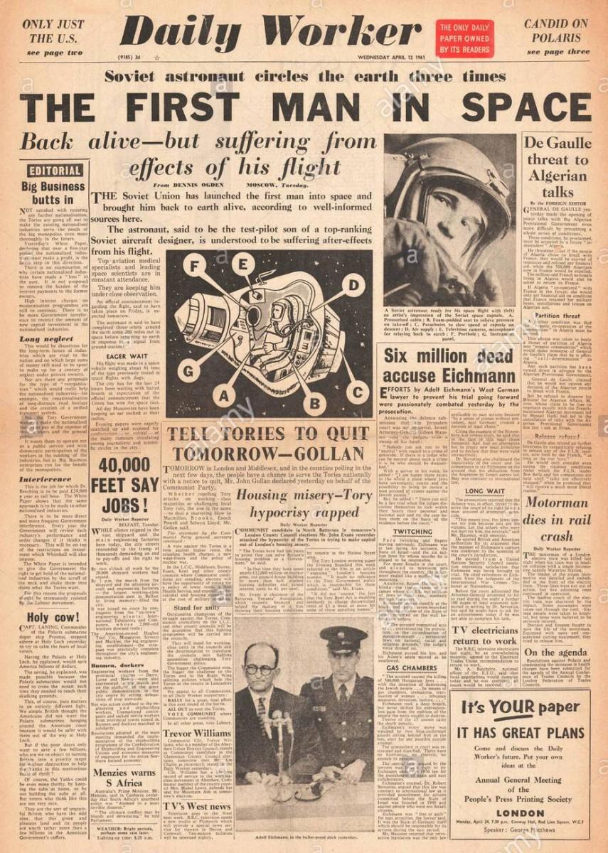 Daily worker первый человек в космосе, 12 апреля 1961