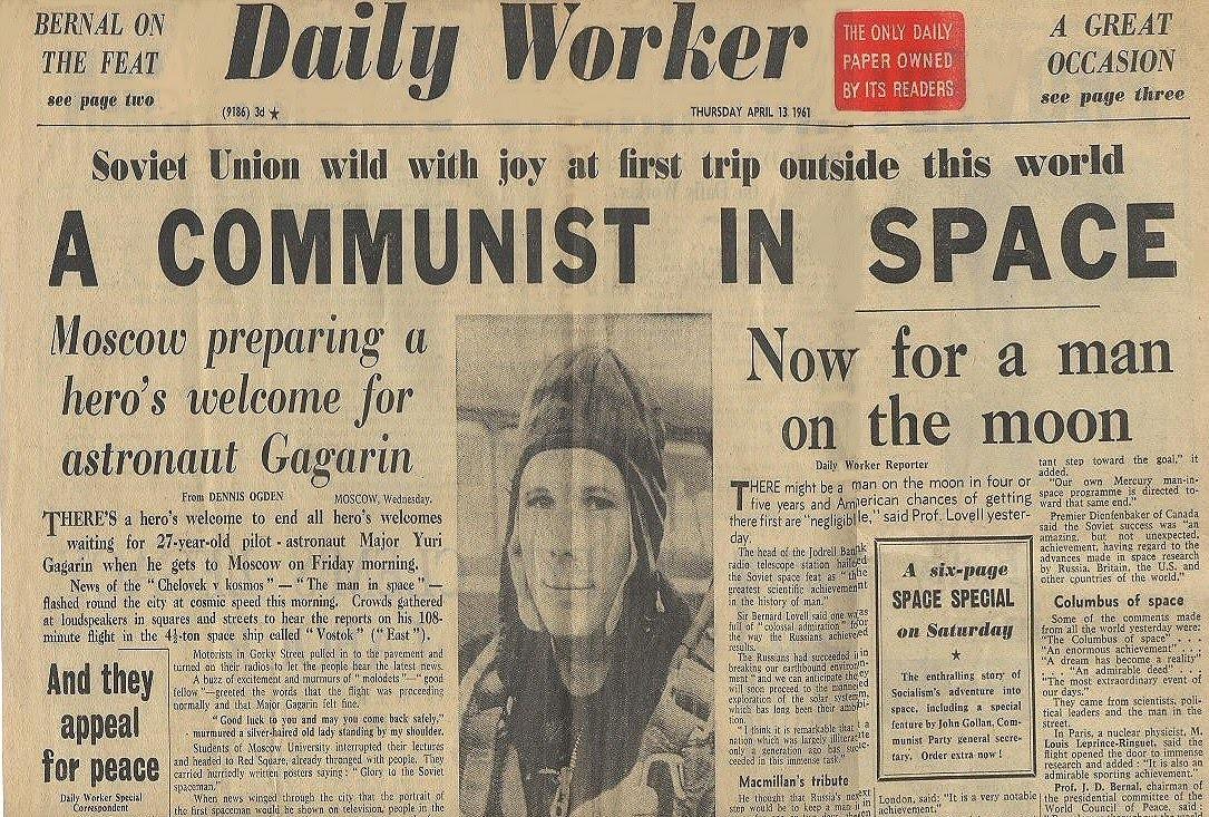 Daily worker коммунист в космосе, 13 апреля 1961