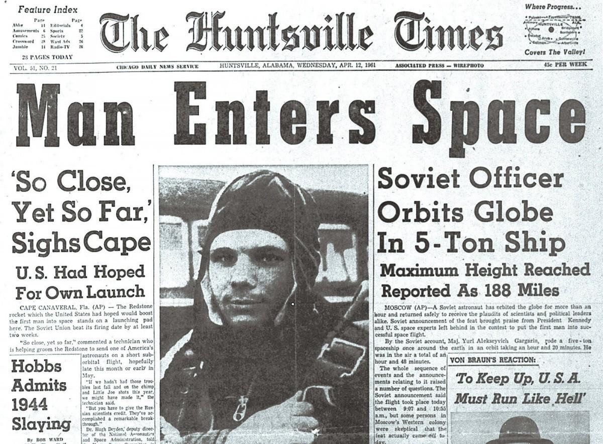 Huntsoille Times Gagarin 1961- зарубежная пресса о полёте Гагарина