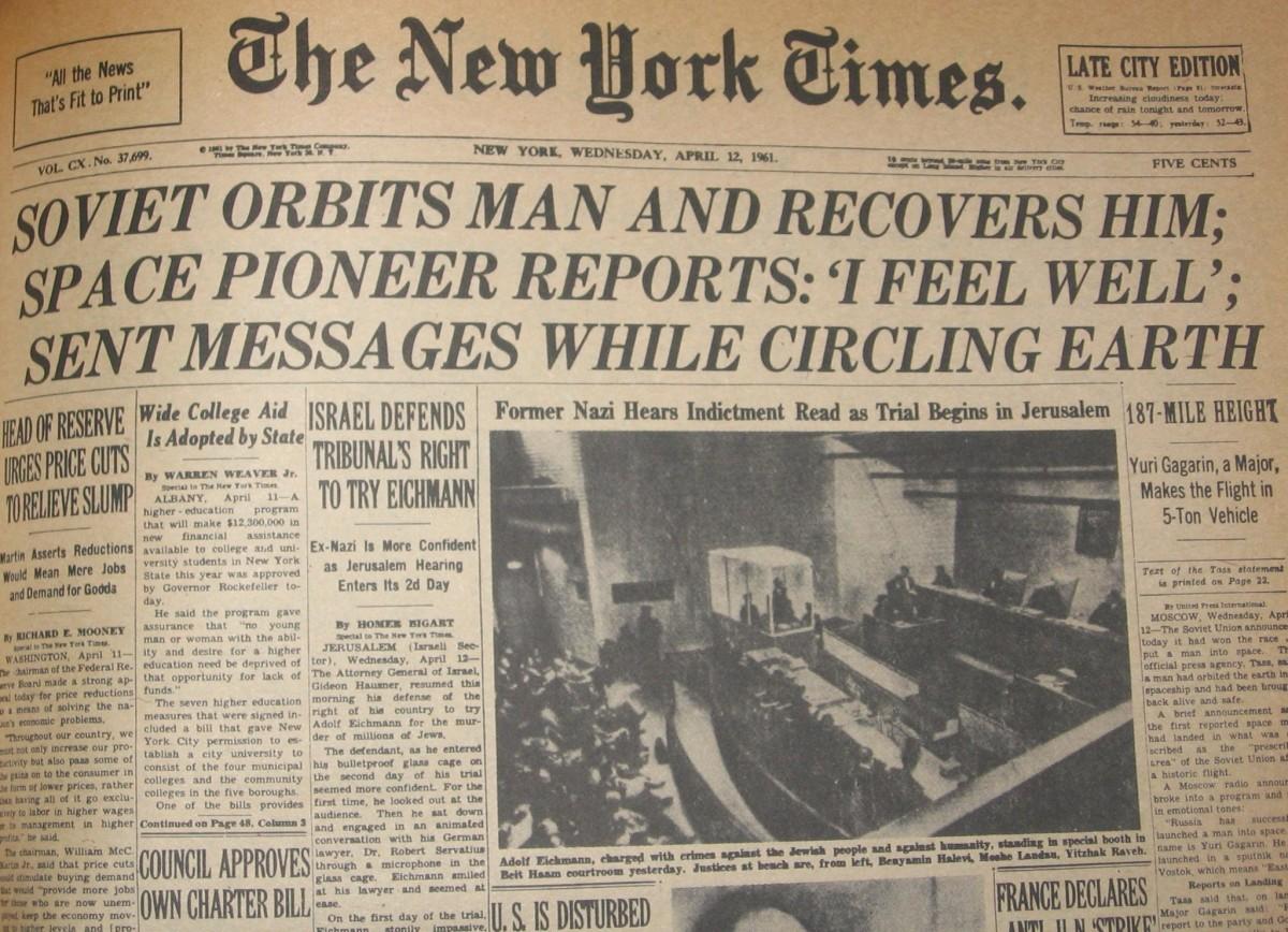 New York Times 1961 год о полёте Гагарина