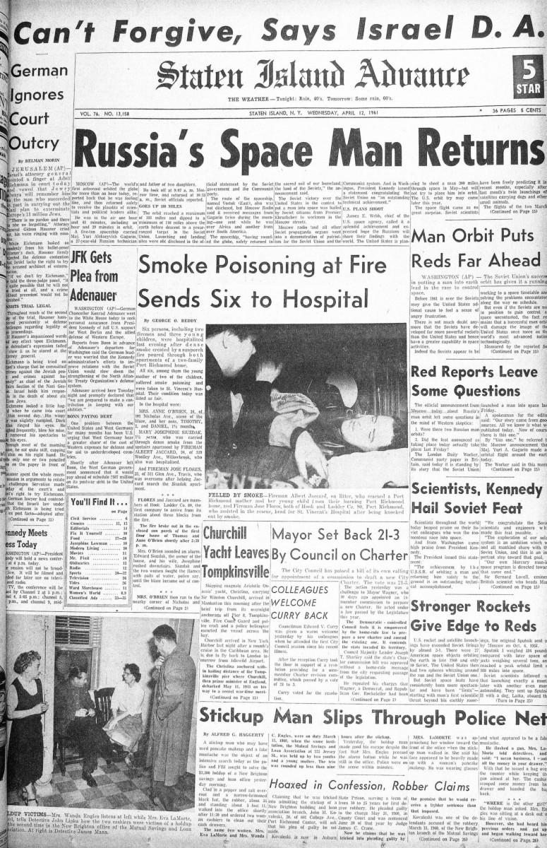 Staten Island Advance 1961 - зарубежные СМИ о полете Юрия Гагарина