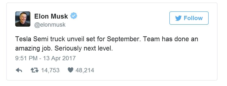 Илон Маск твит о грузовике Tesla