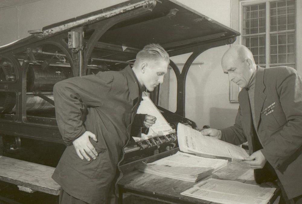 Выпуск газеты Волжский нефтяник в Жигулёвске, 1950-е годы