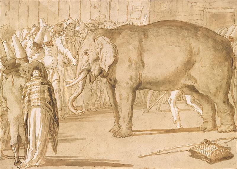 Джованни Тьеполо  Слон с Пульчинелли