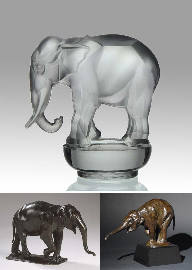 Скульптуры слонов Рембрандта Бугатти и Рене Лалика