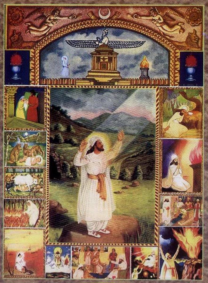 Зороастрийский преданное искусство изображает основателя религии с белым одежда и длинная борода