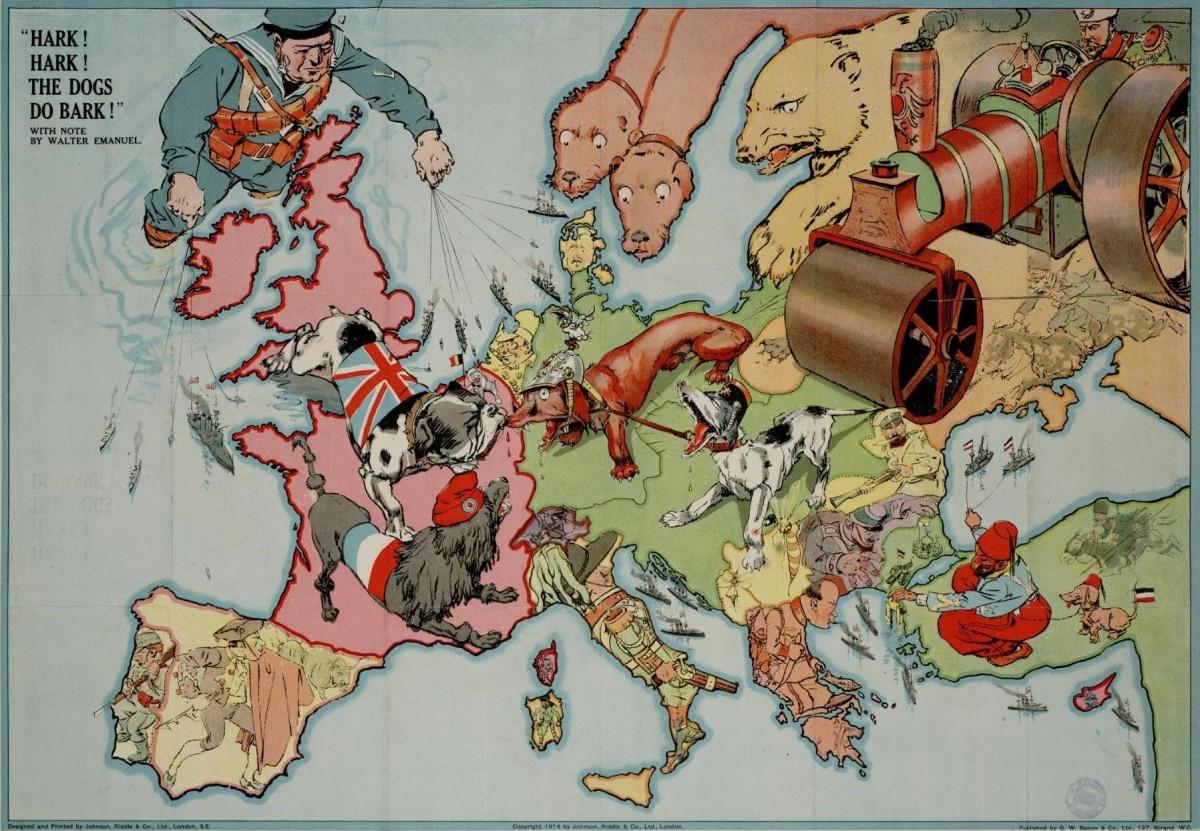Пропаганда политическая карта Европы в 1914 году