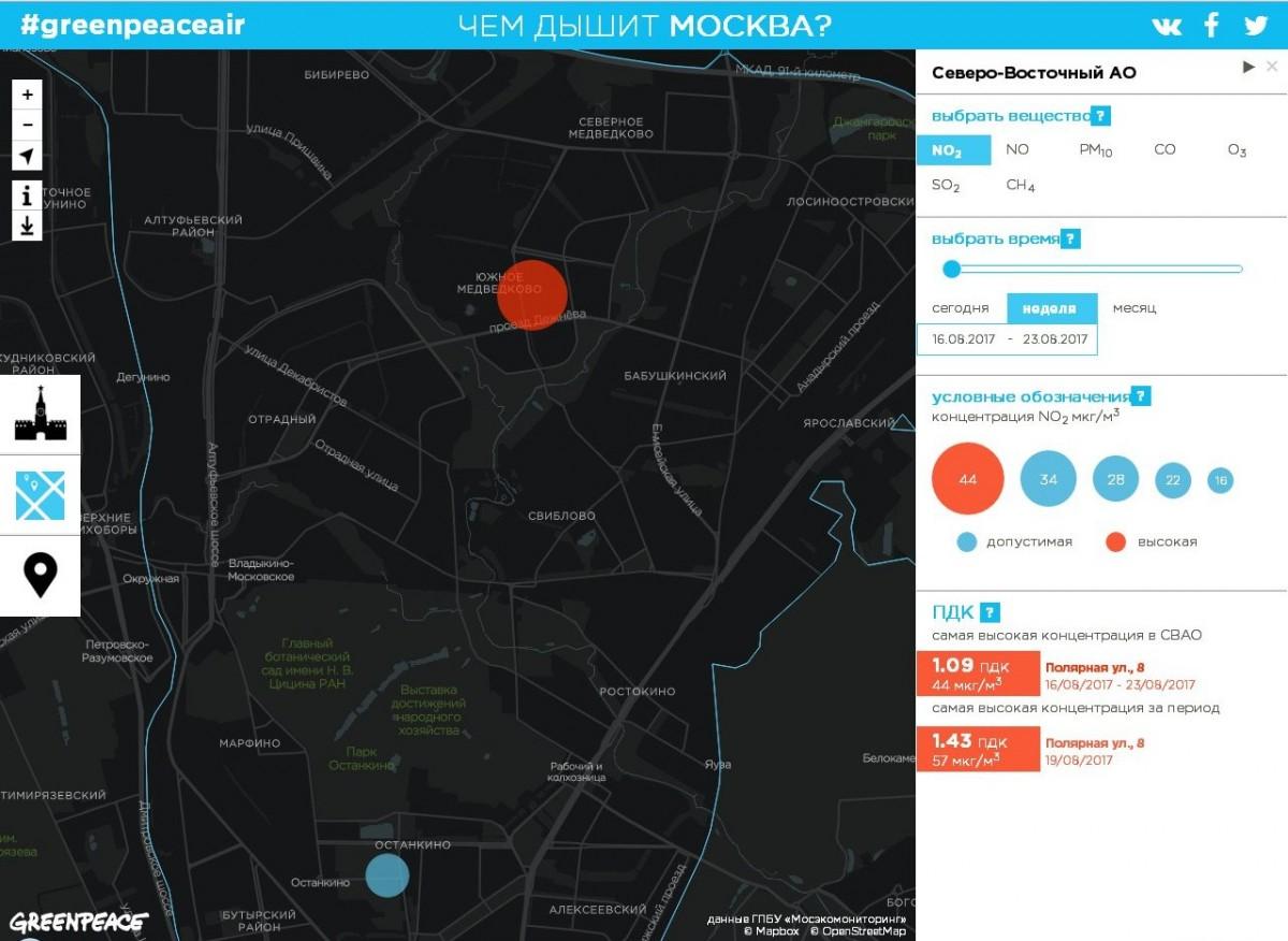 Карта загрязнения московского воздуха